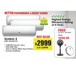 5 Ticks System 3 Aircon & Condensor ESAC MA3W215Y *Free Jet Turbine Tatami Fan & Robotic Vacuum Cleaner*